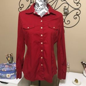 e59d12f519cd Converse One Star Red Button Down Shirt Size L